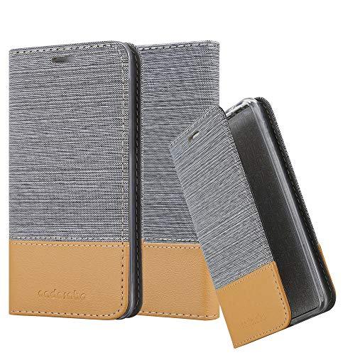 Cadorabo Hülle für LG Q6 - Hülle in HELL GRAU BRAUN – Handyhülle mit Standfunktion und Kartenfach im Stoff Design - Case Cover Schutzhülle Etui Tasche Book