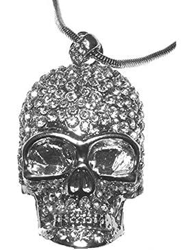 XL Totenkopf Anhänger+Kette 61 cm versilbert Kristall Silber Skulls Strass Schädel Mode