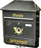 Großer Massivstahl-Briefkasten, verzinkt mit Rostschutz W Walmdach schwarz anthrazit dunkelgrau Zeitungsfach Zeitungsrolle Postkasten