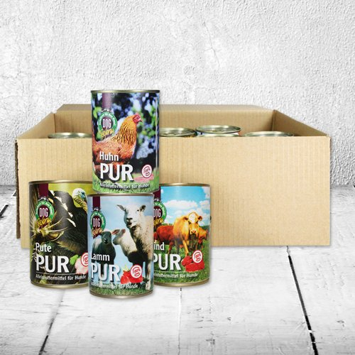 Nassfutter Fleisch Pur 11-er á 410g = 4,51 kg Dosenfutter für den Hund auch zum Barfen getreidefrei Glutenfrei, Fleisch pur auch für sehr empfindliche Hunde geeignet frei von billigen Füllstoffen - 3