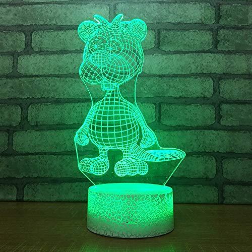 Nachtlampe Illusion Bunte Led Tier Nachtlicht Touch-Schalter 3D Vision Lampe Schöne Karikatur Kinderspielzeug 7 Farbwechsel 3D Beleuchtung Rissbasis