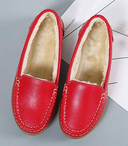 Yiiquan Chaussures Femmes Appartements Chaussures Glissent Sur Les Chaussures De Confort Chaussures Plates De Mocassins épaissir Rouge # 1