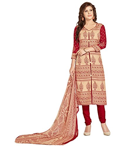 The Style Pure Cotton Cream and Red Color Printed Salwar Kameez Dress...