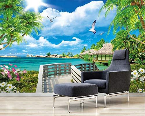 HONGYAUNZHANG Tropische Mediterrane Pflanze Benutzerdefinierte Fototapete 3D Stereoskopische Wand Wohnzimmer Schlafzimmer Sofa Hintergrund Wand Wandbilder,170Cm (H) X 250Cm (W)