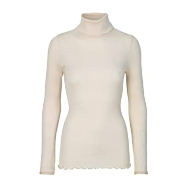 571c4293a86a5a Rosemunde Silk Long Sleeved Roller Neck Top in Ivory  Amazon.co.uk  Clothing