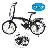 Ridgeyard 20 Pouces Pliable à 6 Vitesses Pliable vélo avec Support arrière LED lumière de la Batterie (Noir)