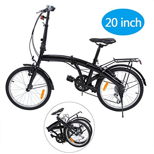 Ridgeyard 20 Pulgadas Bicicleta Plegables Plegable de 6 velocidades con Soporte Trasero LED Battery Light (Negro)