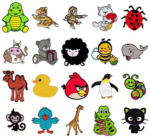 Kinder Aufnäher Super-Spar-Set 20 Stück Bügelbilder Applikation Tiere