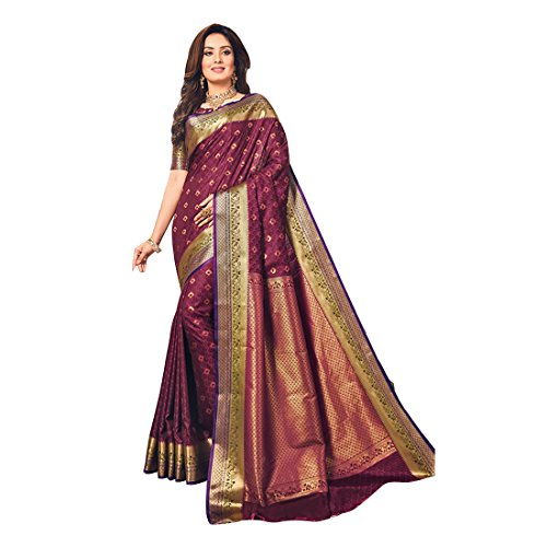 Craftsvilla Women's Silk Blend Maroon Saree with contrast Traditional Pallu and Unstitched...