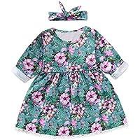 ASHOP Vestidos de Princesa 2019 Tutú Faldes de Fiesta Floral Vestido T-Shirt Manga Larga Algodón Casual Niñas 1-6 Años + Banda para el Cabello