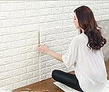 3D brique pour les murs de télévision / décor de mur de fond de canapé, autocollant mural imperméable autocollants décor papier peint, papier peint blanc de brique, panneaux muraux 3D (10 feuille)...