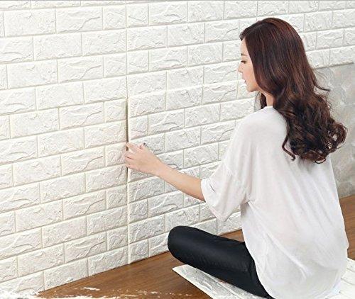 3D Ziegelstein für Fernsehapparat Wände / Sofa-Hintergrund-Wand-Dekor, wasserdichter Wand-Aufkleber Selbstklebende Paneele-Dekor-Tapete, weißer Ziegelstein-Tapete, 3D Wand-Verkleidungen (Weiß: 10 Blatt) (Ziegel Wand Dekor)