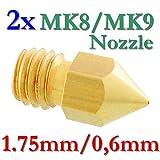 2x MK8 MK9 Präzisions 3D Drucker Düse Messing 0,6mm