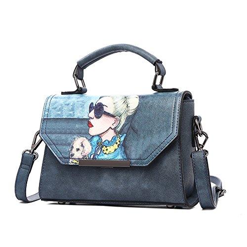 Pacchetto di estate selvaggio di modo selvaggio, versione coreana della borsa delle maree, zaino obliquo della spalla ( Colore : Grigio ) Il blu scuro.