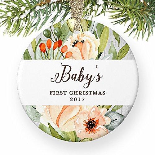 y 's First Baby Girl Infant 1. Weihnachts Adoption Blessed Familie Geschenk Baby Dusche rund Weihnachten Ornament Andenken Xmas Tree Dekoration Hochzeit Jahrestag Geschenk (Baby-dusche-hof Dekorationen)
