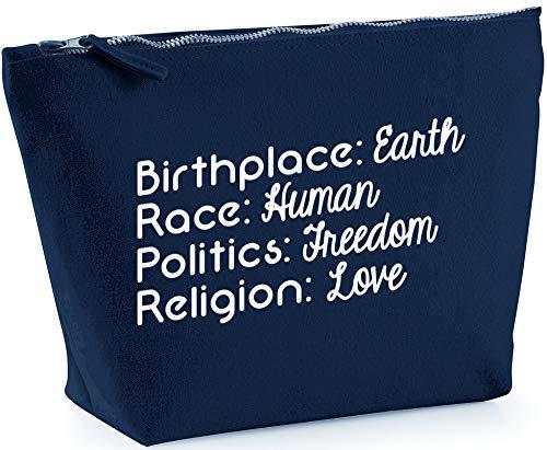 Hippowarehouse Birthplace: Earth, Race: Human, Politics: Freedom, Religion: Love Bolsa de Lavado cosmética Maquillaje Impreso 18x19x9cm