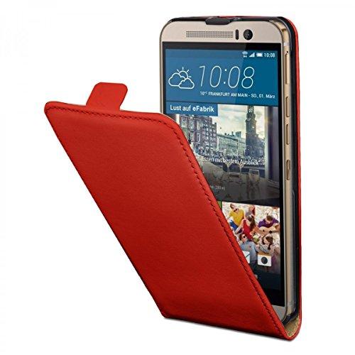 eFabrik Schutz Tasche für HTC One M9 & HTC One M9 Prime Camera Edition Hülle Handy Zubehör Flip Case Kunstleder Rot