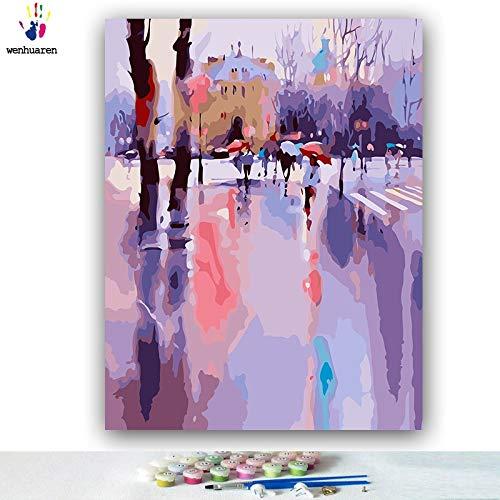 KYKDY DIY Färbungen Bilder nach Zahlen mit Farben Grau bewölkter Tag Eindruck im Regen Bild Zeichnung Malen nach Zahlen gerahmt, 50081,80x100 kein Rahmen - Eindruck Gerahmt