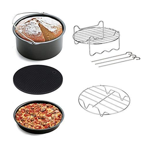Sinbide 8 Stücke Heißluftfritteuse Airfryer Zubehör Pizza Pan Grillrost mit 3 Spießen Metall Halter