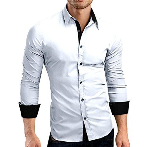 Top da uomo a maniche lunghe con pannello sottile da uomo,camicia da uomo stampato slim fit manica lunga maniche casual camicia formale top camicetta,camicia coreana uomo(bianco,m)
