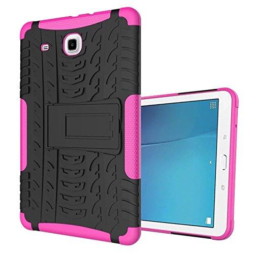 XITODA Samsung Galaxy Tab E 9.6 Hülle, Hybrid Armor Design mit Kickstand TPU Silikon + PC Back Cover Case für Samsung Galaxy Tab E 9.6 Zoll SM-T560 / T561 / T565 Tablet Schutzhülle Tasche - Hot Pink