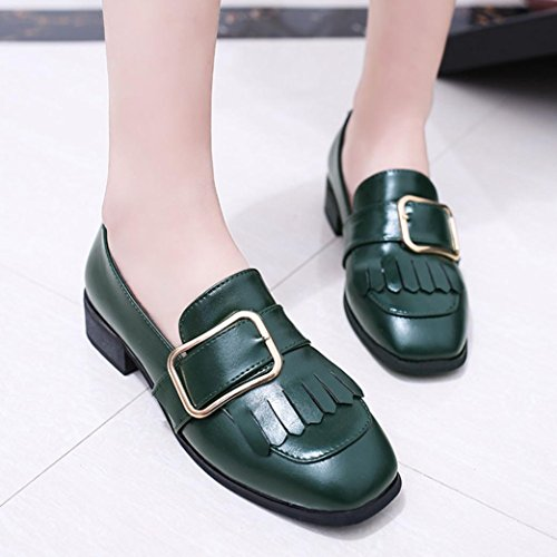 Saingace Frauen-Freizeit-britische Art-Leder-Troddel-Schuh-Müßiggänger-beiläufige Schuhe Grün