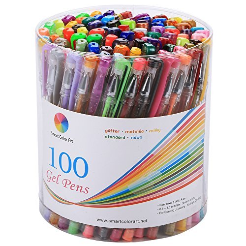 Smart Color Art Gel Pen Set with Colors Included - 100 Pcs