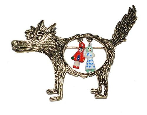 Small Island Rotkäppchen-Brosche, Oma und der böse Wolf, inspiriert vom Märchen (Organza-Geschenkbeutel enthalten)