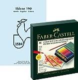 Faber-Castell 110038 - Farbstift POLYCHROMOS, 36er Atelierbox Geschenkset / Bundle mit wertigem, alterungsbeständigem Hahnemühle Skizzenblock Skizze 190