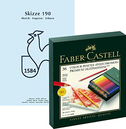 Faber-Castell 110038 - Farbstift POLYCHROMOS, 36er Atelierbox Geschenkset / Bundle mit wertigem,...