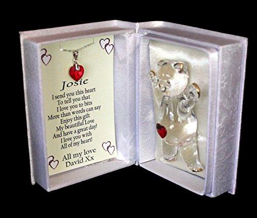 Cuore di cristallo rosso anniversario, compleanno o Natale regalo personalizzato per la moglie