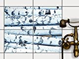 creatisto Bad-Folie Fliesen Zum Aufkleben   Klebe-Fliesenaufkleber Küchenfliesen Wanddeko   25x20 cm Erholung Wellness Weisses Buschwerk - 4 Stück