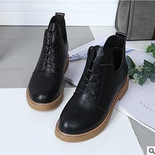 HSXZ Scarpe donna pu Autunno Inverno Comfort stivali Chunky tallone punta tonda Babbucce/stivaletti di abbigliamento casual kaki nero Black