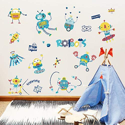 oboter Rakete Wandsticker Wandaufkleber Wissenschaft Technologie für Babyzimmer Kinderzimmer Mädchen ()