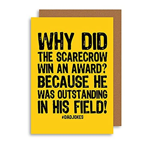 Funny Fathers Birthday Card - Classic Dad Joke Card - Humour Grandfather Greeting Card - Alternative New Dad Card - Scarecrow Card