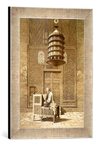 """Gerahmtes Bild von Maurice KeatingAn Imam reading the Koran in the Mosque of the Sultan, Morocco, 1817"""", Kunstdruck im hochwertigen handgefertigten Bilder-Rahmen, 30x40 cm, Silber raya"""