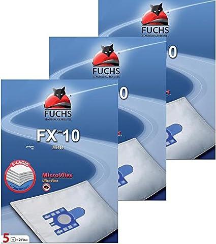 FUCHS Staubsaugerbeutel Fxpro 10 3 Pakete 10: 15 Staubsaugerbeutel, 3 Luftfilter, 3 Motorfilter für Miele Cat und Dog, S 8 G N H S 230, S5 400i - 499i S 5 S 5000 - 5999 Serie EcoComfort EcoLIne Premium