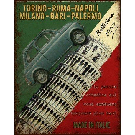 Antic -Line Plaque publicitaire Fiat 500, vintage et rétro 22 x 28cm en fer