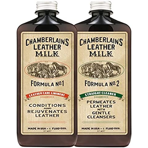 Leather Milk Leather Conditioner and Cleaner Kit - No. 1 - 2 Conditioner + Cleaner Kit - All Natural, Non-Toxic Leather Care. 2 Sizes. Made in the USA. Includes 2 Premium Restoration Pads! by Chamberlain's Leather Milk