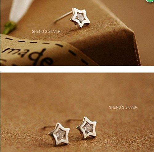 Celebrity Jewellery S925 Argent Mini Star étoile and Crescent lune Twilight Mode Bijoux Femme Bijoux Gift BT_001_white10