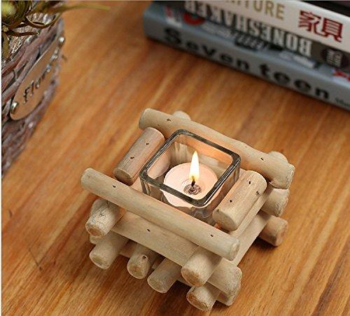 K&C casa creativa di legno naturale di candela ornamenti Teelichthalter