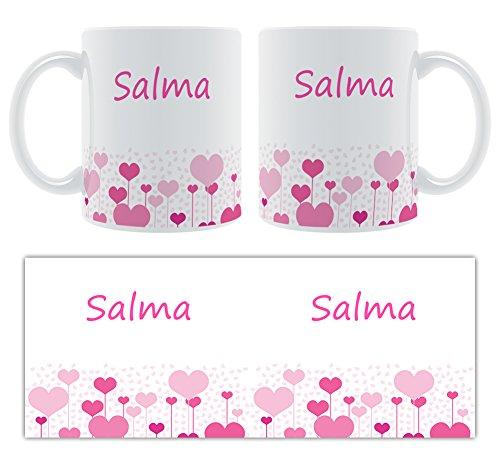 SALMA – Motif cœurs – Femelle Nom personnalisable Mug en céramique