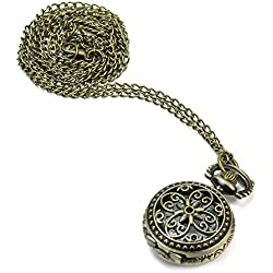 Retro Antique Bronze Hollow Flower Quartz Pocket Watch Pendant Necklace Chain