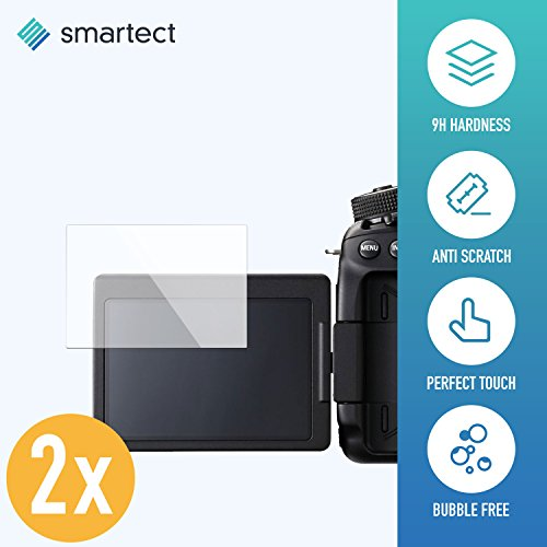 SmarTect Canon EOS 80D Panzerglas Folie - Displayschutz mit 9H Härte - Blasenfreie Schutzfolie - Anti Fingerprint Panzerglasfolie [2 Stück]