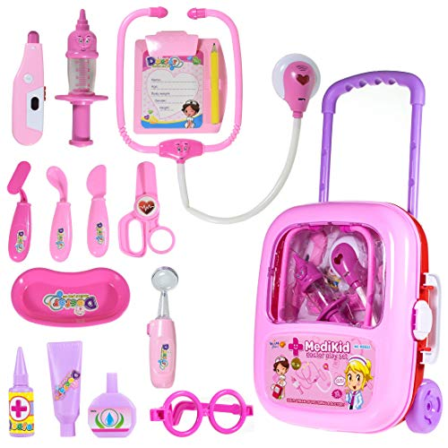 WISHKEY Doctor Set for Kids,Medical Kit Instruments with Lights & Sound Effect Pretend Play Early Educational Toy Playset,Easy to Carry Trolley Suitcase with Wheels