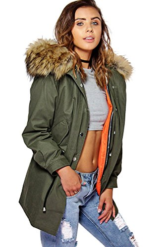 Kaki Femme Petite Liv 2 In 1 Zip Out Parka With Faux Fur Hood Kaki