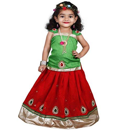 Najara Fashion Red Green cemric cotton baby girls lehenga choli