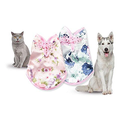 Lager Show 1Pet Dog Spring Summer Flower Kleid, Chinesischen Cheongsam Style Weiblich Pet Ärmelloses T-Shirt Kostüm Party Bekleidung für Welpen Katzen, S, - Dog Fancy Dress Kostüm Für Den Menschen