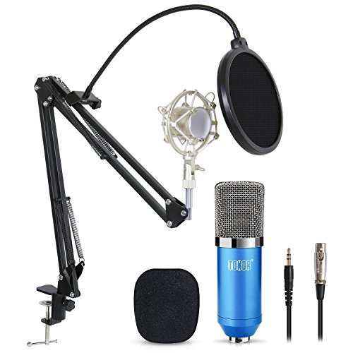 TONOR XLR zu 3.5 mm Kondensator-Mikrofon Kit Schall Podcast Studio Rundfunk & Aufnahme Microphone für Computer mit Popschutz und Verstellbarem Mikrofonhalter (516Blau)
