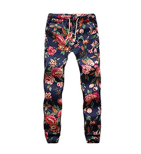 Pantalon Cordón Hombre Fashion Etnicas BOLAWOO Con Estilo Estampado Vintage Pantalones Lino Flores Casuales TaxqEwEPd